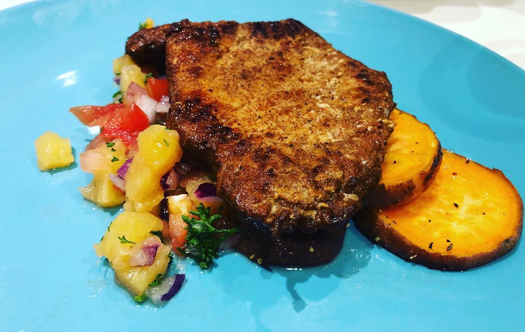 Pineapple Salsa pork and sweet potatoes
